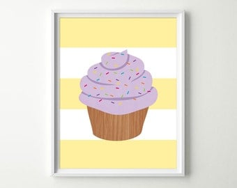 Cupcake Nursery Decor - Kids Cupcake Decor - Cupcake Wall Art - Cupcake Prints with Sprinkles - Kitchen Wall Art