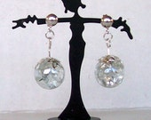 Stained Glass, Clear Iridescent Cracked Marble Drop Earrings, Sterling 925 posts, Crystal Ball, Fortune Teller, Bohemian