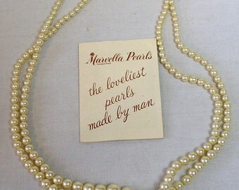 Marvella Necklace Simulated Pearls w Sterling Clasp Dbl Strand / Also with Marvella Pearls Brochure / Lovely Graduated Faux Pearl Necklace