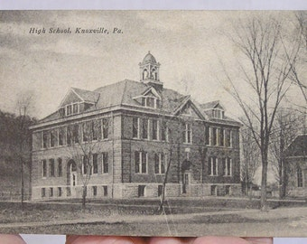 Vintage Post Card of High School in Knoxville Pennsylvania / Knoxville PA School Building on Post Card 1920 / Excelsior Postcard