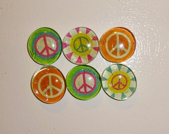 Peace Sign Magnets Hippie Flower Child Round Glass Set of 6