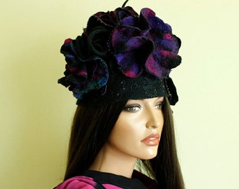 Colorful hat felted  3D hat, Black fascinator Fancy hat  Multicolor hat  Fairytale hat Felt cloche Felt hat Hand felted