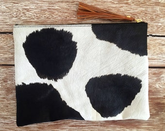 LARGE Black and White Natural Cows Hide Clutch- Animal Print Case with Suede Lining & Leather Tassel - iPad Case, iPad Professional Cover