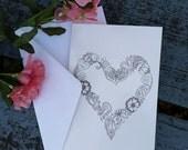 10 PACK Decorative Heart Greeting Cards and Envelopes 7.25 x 4.75 Henna Illustration Mehndi Art Print Love Floral Design Handmade