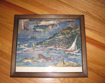 "ABSTRACT MAINE COAST Print Original Was By Redein In Wood Frame 15 3/4"" x 13 3/4"" Hand Signed"