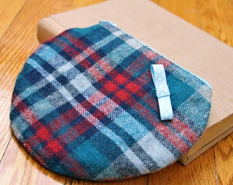 Zipper Pouch- Small- Red and Blue Plaid