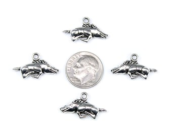 Antique Silver Hog Charms 10 QTY, Razorback