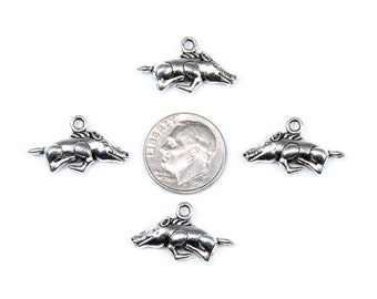 Antique Silver Hog Charms 6 QTY, Razorback