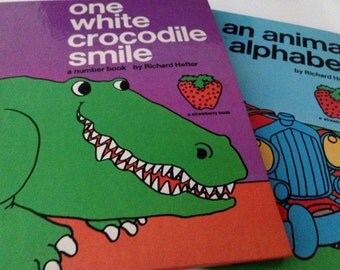 2 Books by Richard Hefter - An Animal Alphabet and One White Crocodile Smile - 1974