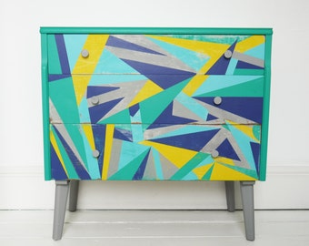 SOLD! - Vintage Retro Upcycled chest of drawers - 'Emerald Fractals'