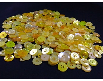 Lot of 400+ Vintage Yellow Buttons, Translucent, Shiny, yellow buttons, sewing and craft buttons