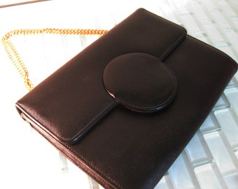 1960s Formal Black Leather Purse Evening Bag Joseph Magnin
