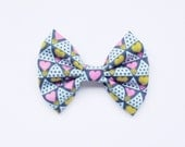 Retro Blue Heart Fabric Bow on Hair Clip or Headband - Little Girl Hair Bow