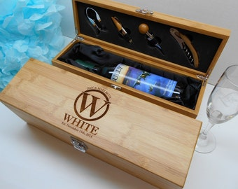 Personalized Bamboo Wine Box,  Custom Engraved Wedding Wine Box, Corporate Gift, Client Gift