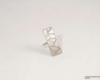 Large Convex Polygon Ring - Sterling Silver - Size 7