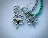 Shamrock double chain Cartilage-to-Lobe earrings (silver and green)