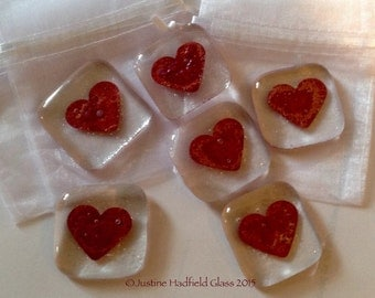 Fused glass love token