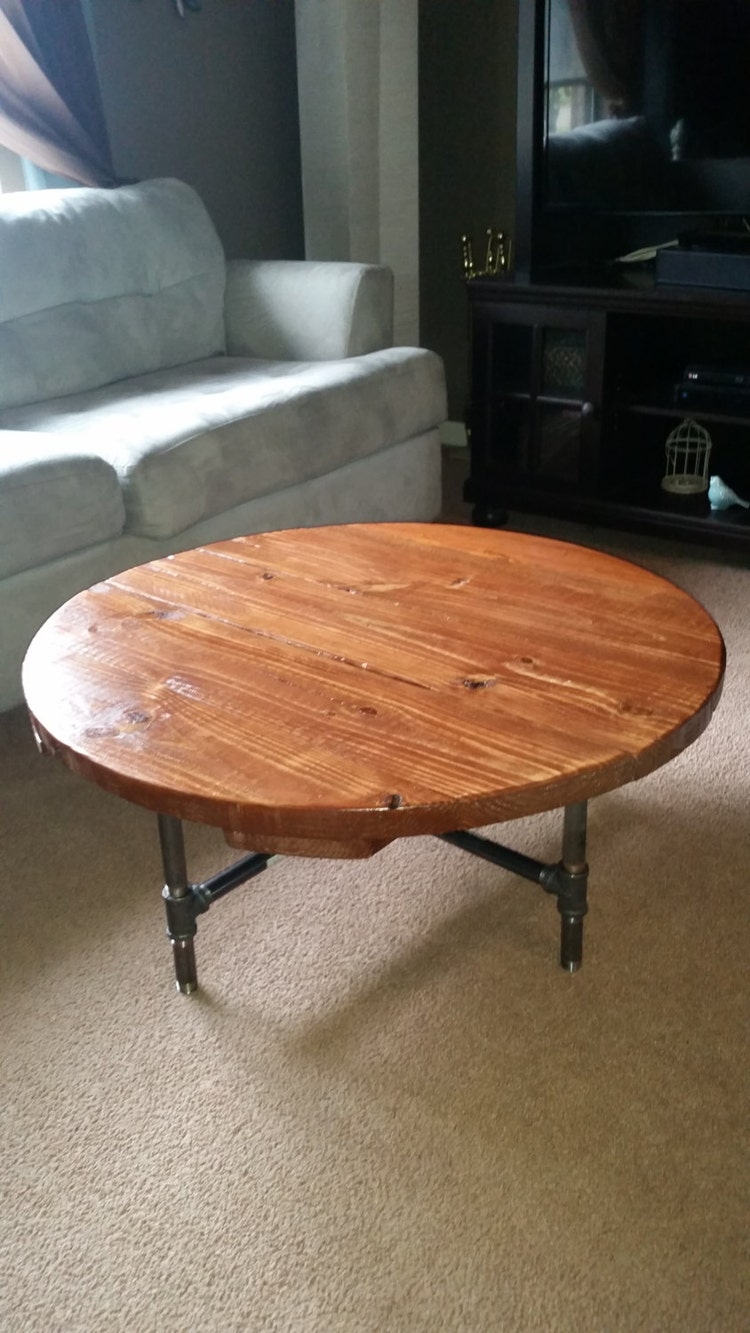 Industrial Pipe Leg Round Dining Table 36 By Lapalletcreations