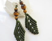 Green Kaki Macrame Earrings with Tiger Eye Gemstone beads Handmade Creation