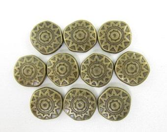 10pcs 12mm Off Round Coin Southwest Sun Bronze Color Bead (F1786)