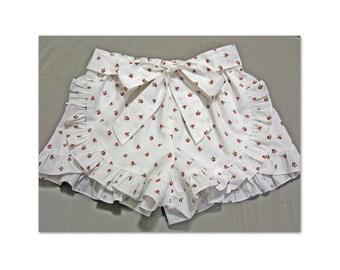 Shorts sewing pattern, girls shorts pattern, Lolita Shorts pdf sewing pattern for girls 2 - 12 years, cute ruffled shorts pattern