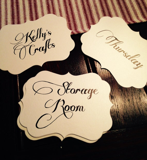 Items similar to custom calligraphy signs on scalloped