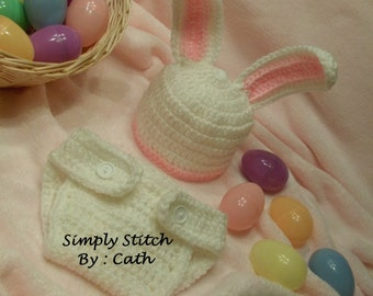 Bunny Hat & Diaper cover set  -  Newborn  -  Photography Props - Made To Order