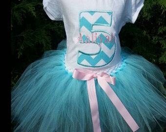 GIRL Personalized number 5 fifth 5th birthday tutu OUTFIT/ shirt customize birthday outfit/ personalized embroidered / monogram pink chevron
