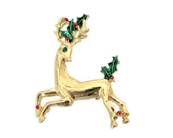 Vintage Christmas Brooch, 1960's Gerry's Gold Reindeer Brooch, Vintage, Retro Reindeer Brooch, Pin, 1960's Christmas, Holiday Jewelry