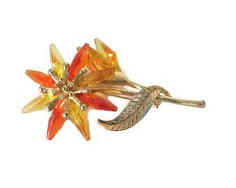 Vintage Lucite Flower Brooch, 1970's Orange, Gold Flower Brooch, Pin, Large Flower Brooch, 1960s Brooch, Jewelry