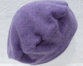 Soft lilac Beret hat cashmere recycled handmade soft accessory Winter hat kids Eco-friendly girls headwear small size womens cashmere hat.
