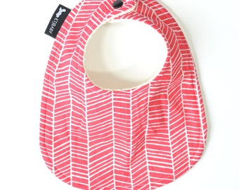 Pink Baby Bib or Toddler Bib | Pink Herringbone Baby Bib | Cute Baby Bib | Girl Baby Shower Gift | Modern Bib | Trendy Baby Bib | Cotton Bib