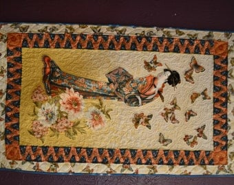 Quiled, geisha girl wall hanging - machine pieced and quilted