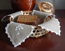 Handmade linen bread keeper, bread napkin, bowl liner, basket liner