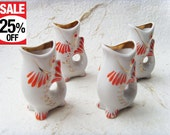 Set of 4 Vintage Soviet Porcelain Fish Shot Glasses 30 ml Made in USSR in 1970s