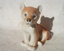 Vintage Lion - Soviet Vintage Porcelain Lion Cub Figurine Made in USSR in 1970s.