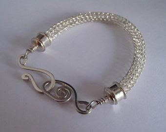 Viking knit weave Sterling Silver bracelet handmade