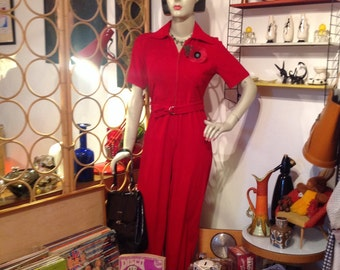 VINTAGE 1970s Cherry Red Chelsea Girl Jump Suit VINTAGE