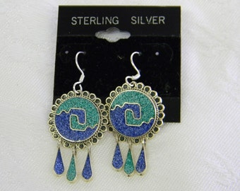 "Sterling Silver 925 Alluring Green Turquoise Blue Lapus French Wire Earrings 1 1/2"" Long #6045"