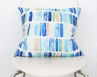 Vertical Stripes in Blue- Throw Pillow