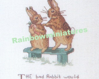 cross stitch beatrix potter rabbit fighting CHART INSTRUCTIONS ONLY lakeland artist new
