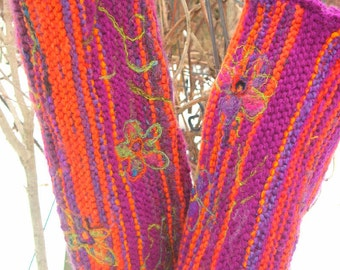 long knit leg warmers in pink and orange/  womens leg warmers/ made to order