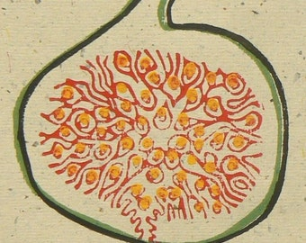 Fig linocut print