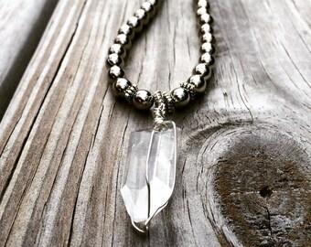SALE!!! Was 39.99 .... Beaded silver necklace with crystal clear quartz pendant/quartz necklace/Yogi necklace/boho necklace