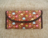 Custom order for Jeweledturtle: Handmade wallet with Flappers Hideout Brown fabric by Kelly Panacci