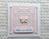 """New Baby Girl with Little Baby Shoes """"Welcome Baby"""" Handmade Card - Perfect for New Parents or Grandparents!"""