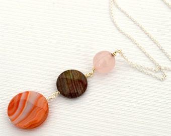 Gemstone Trio Long Necklace