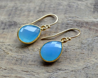 Blue Chalcedony Drop Earrings- Blue Stone Earrings- Gold Earrings- September Birthstone Earrings