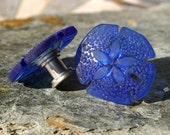 Glass Sand Dollar Cabinet Knobs - Beach Glass, Kitchen, Bathroom, Cabinet Fixture, Colored Glass, Cobalt Blue