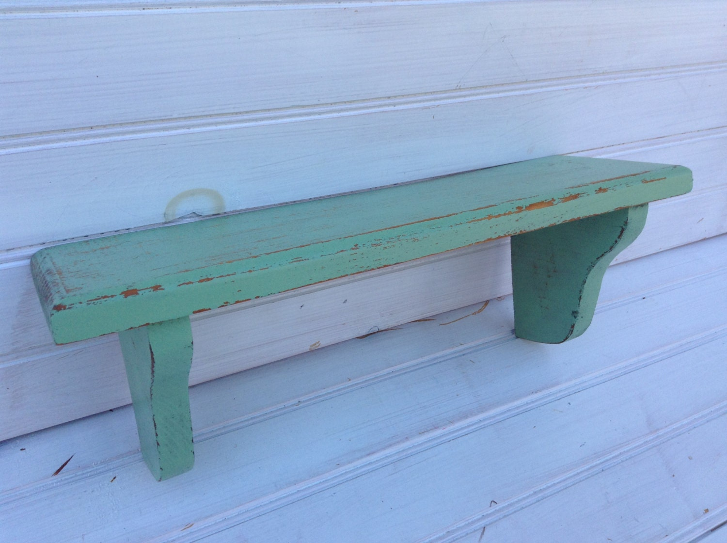 Mint Green Painted Wall Shelf Chippy Paint Shabby Chic By